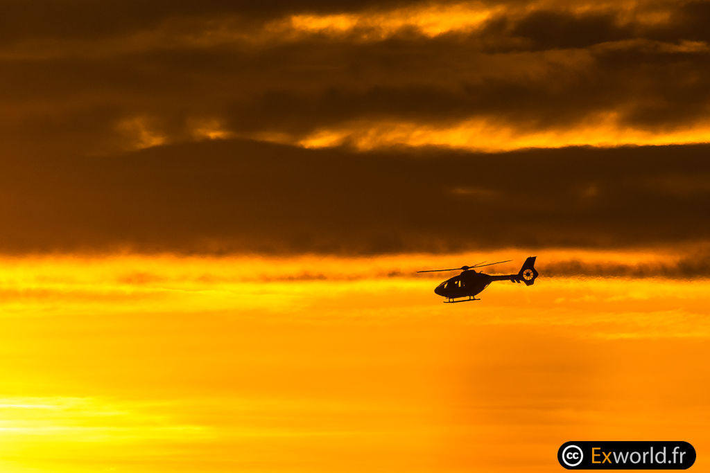 Helicopter on golden hours
