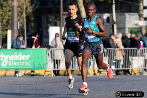 William Cheboi et Abdellatif Meftah Marathon de Paris 2019