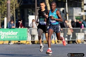 William Cheboi et Abdellatif Meftah Marathon de Paris 2019